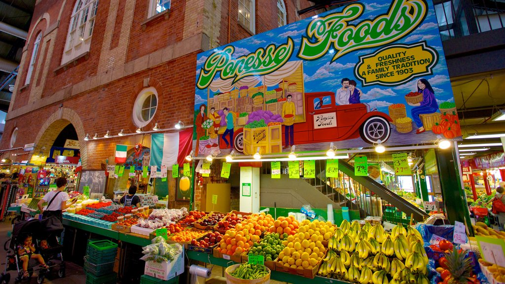 St. Lawrence Market which includes signage, food and markets