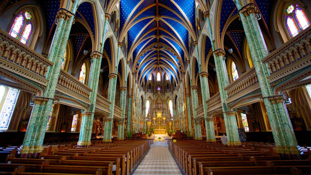Notre-Dame Cathedral Basilica showing interior views, a church or cathedral and religious elements
