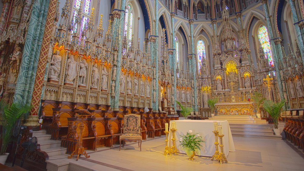 Notre-Dame Cathedral Basilica which includes a church or cathedral, heritage architecture and interior views