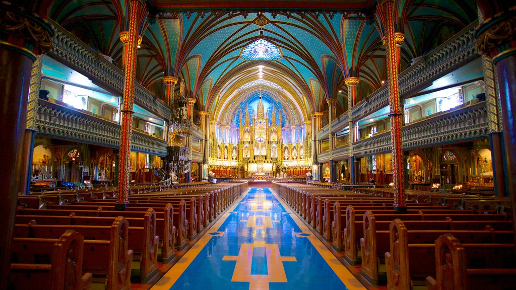 Notre Dame Basilica showing interior views, a church or cathedral and religious aspects