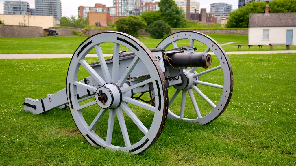 Fort York National Historic Site showing military items and a memorial