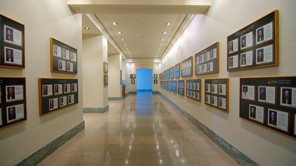 Saskatchewan Legislative Building showing heritage elements, interior views and an administrative buidling