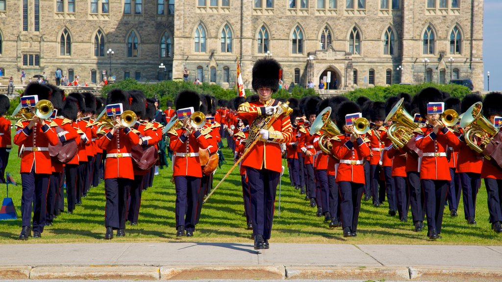 Parliament Hill featuring military items, music and performance art