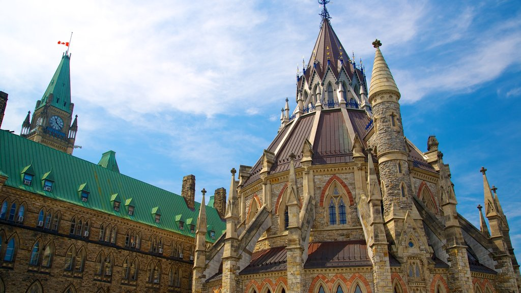 Parliament Hill showing heritage architecture and an administrative buidling