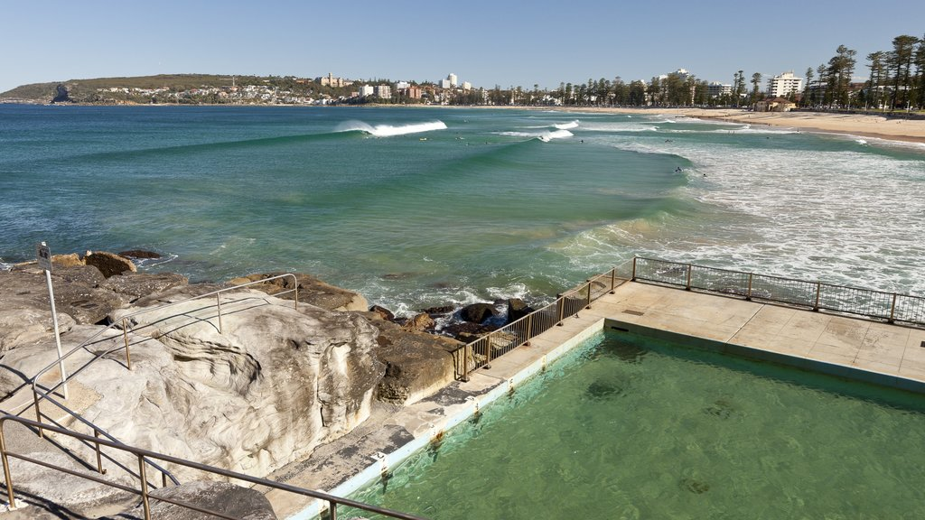 Manly Beach which includes a beach, a pool and a coastal town