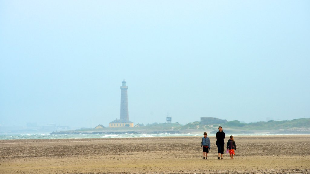 Grenen showing a lighthouse and a sandy beach as well as a family