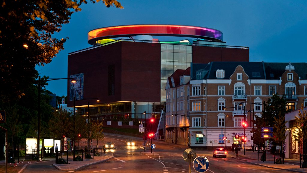 Aarhus featuring street scenes, outdoor art and a city