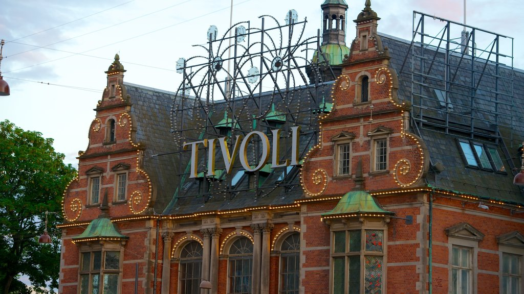Tivoli Gardens which includes signage, rides and heritage architecture