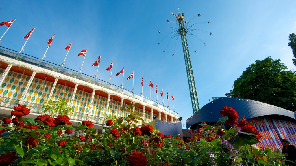 Tivoli Gardens featuring flowers and rides