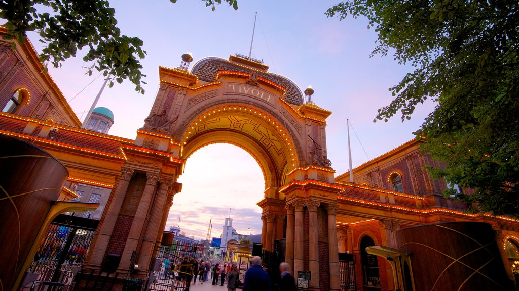 Tivoli Gardens which includes heritage architecture and rides
