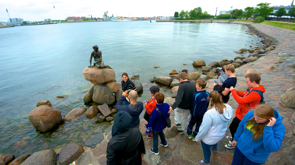 Little Mermaid showing a statue or sculpture, general coastal views and a bay or harbor
