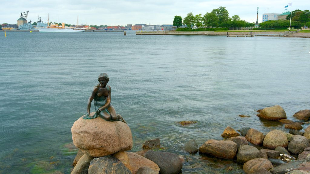 Little Mermaid which includes a bay or harbor, a statue or sculpture and general coastal views