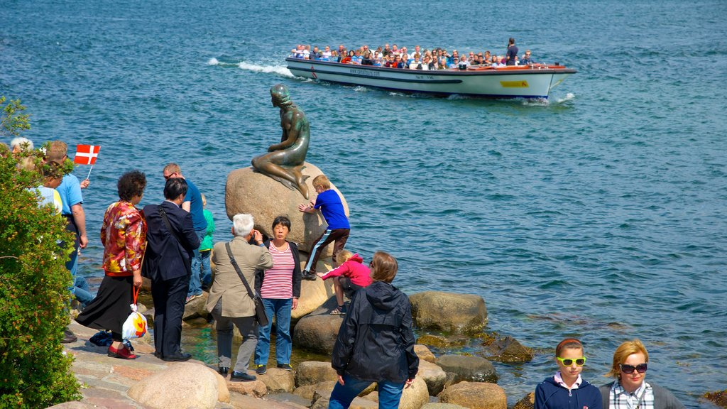 Little Mermaid showing a statue or sculpture, a bay or harbor and general coastal views