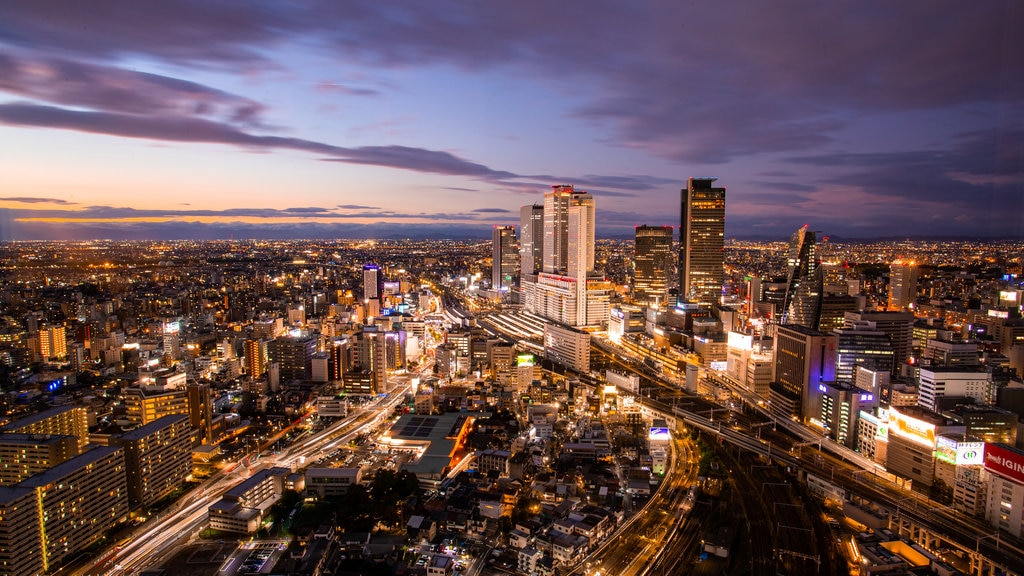 Chubu featuring a sunset, landscape views and a city
