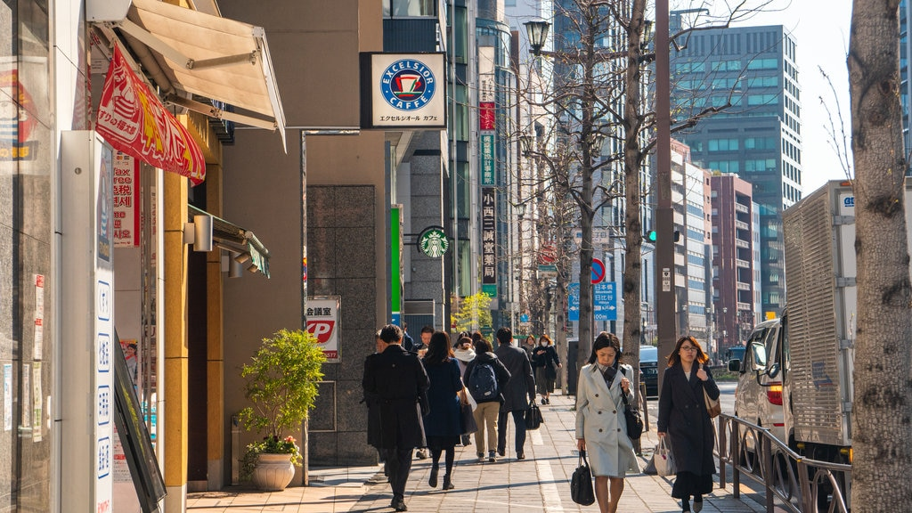 Chiyoda featuring street scenes and a city as well as a couple