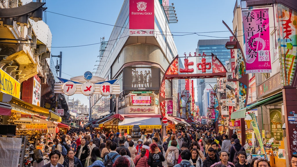 Ameya-Yokochō which includes a city, signage and street scenes