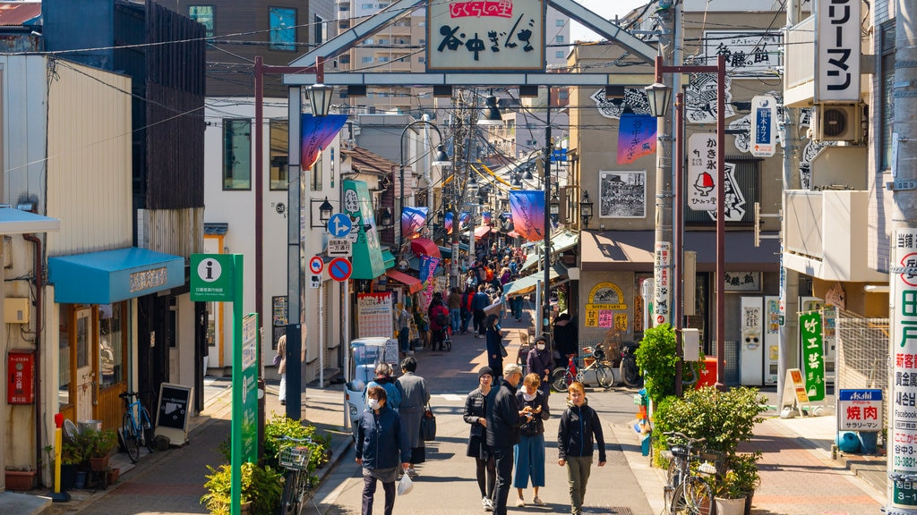Yanaka Ginza Shopping Street featuring a city and street scenes