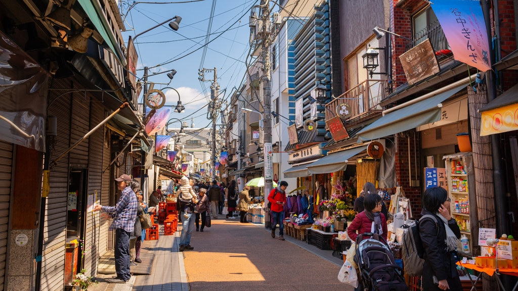Yanaka Ginza Shopping Street featuring street scenes