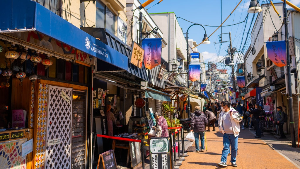 Yanaka Ginza Shopping Street featuring street scenes as well as an individual male