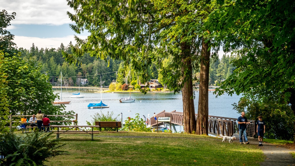 Bainbridge Island which includes a garden and a bay or harbor as well as a family