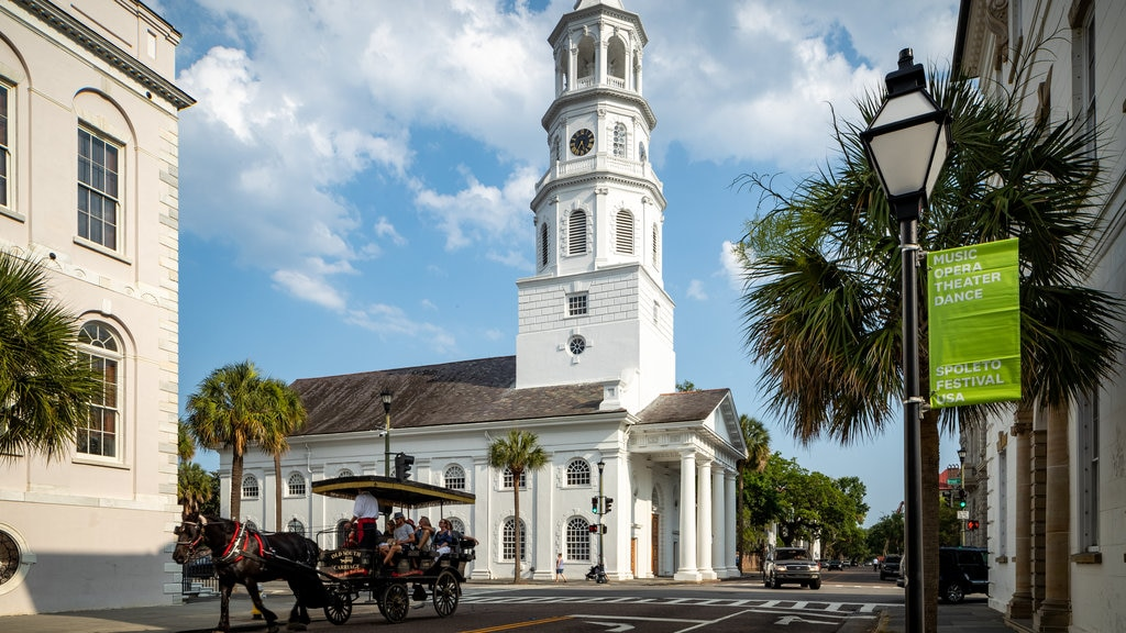 St. Michael\'s Episcopal Church which includes horseriding, street scenes and a church or cathedral