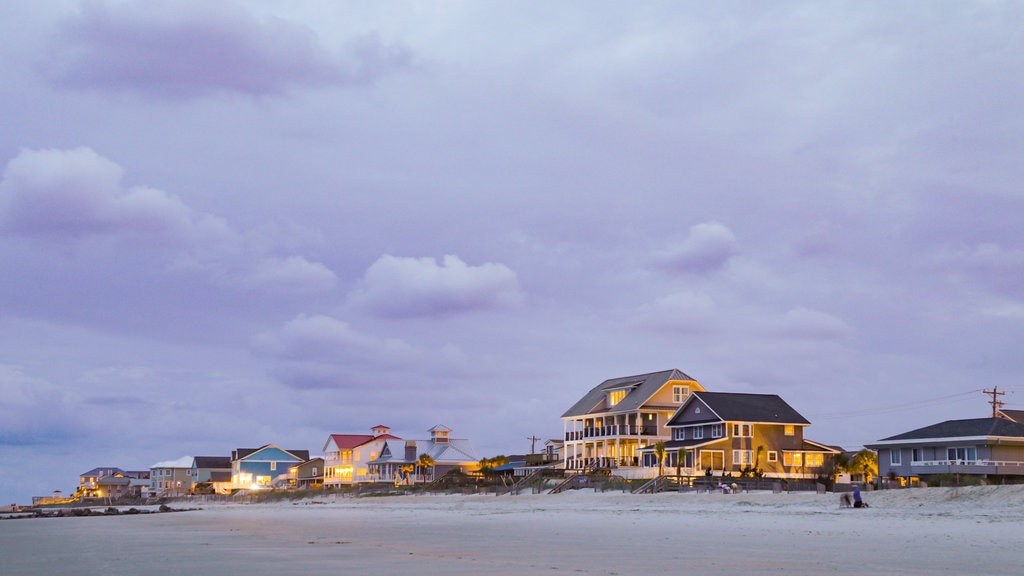 Murrells Inlet featuring a coastal town, night scenes and a sandy beach