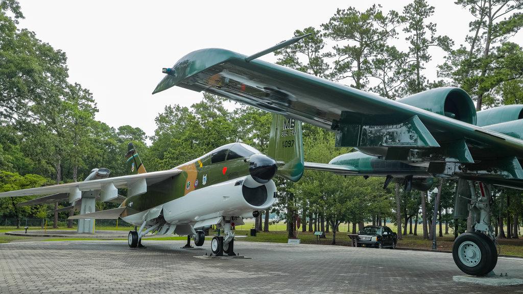 Parque Warbird mostrando artículos militares y aeronave