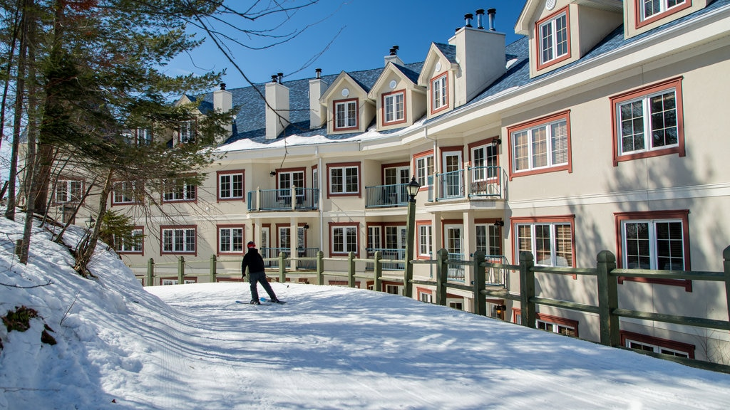 Mont-Tremblant Pedestrian Village which includes snow skiing and snow