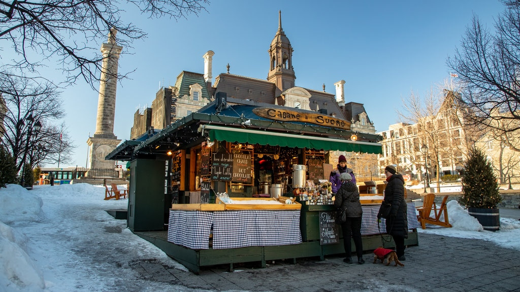 Old Montreal which includes snow and cafe scenes as well as a couple