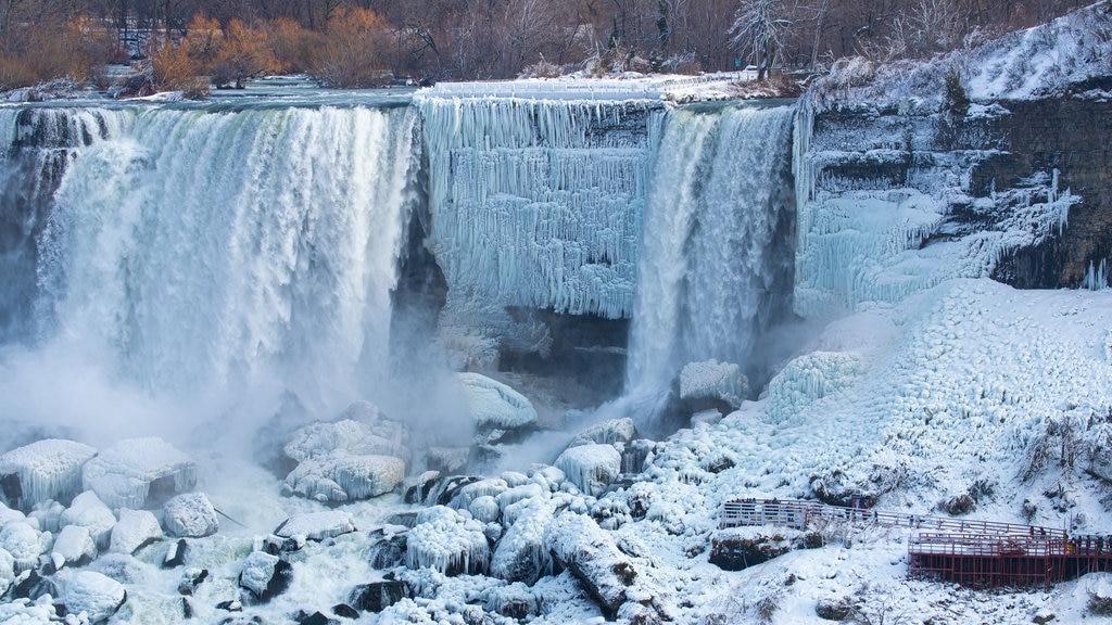 Niagara Falls , Canada showing a cascade and snow