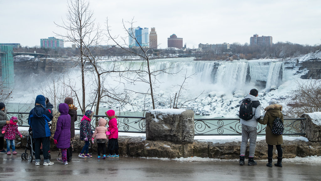 Niagara Falls , Canada showing views and a waterfall as well as children