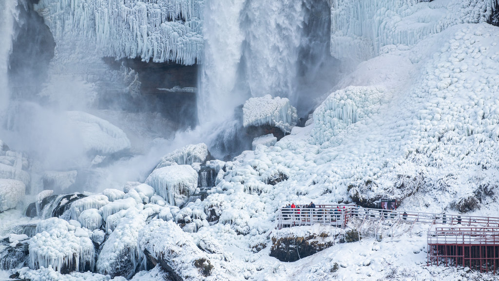 Niagara Falls , Canada which includes snow and a waterfall