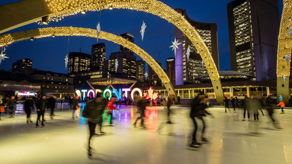 Nathan Phillips Square which includes signage, night scenes and a city