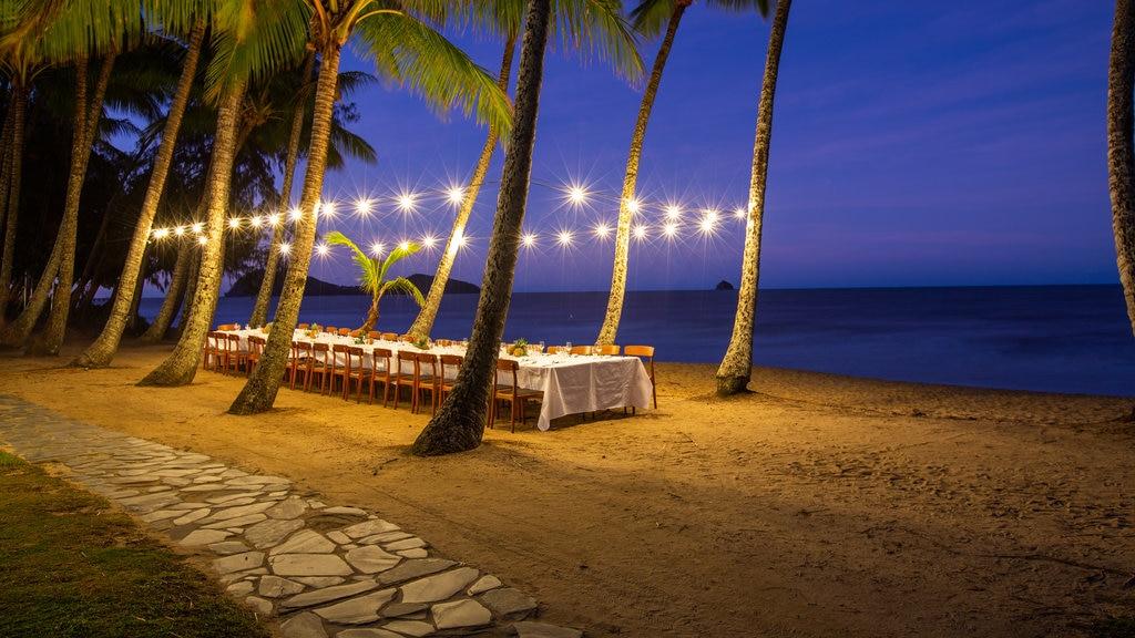 Palm Cove Beach showing a beach, general coastal views and night scenes