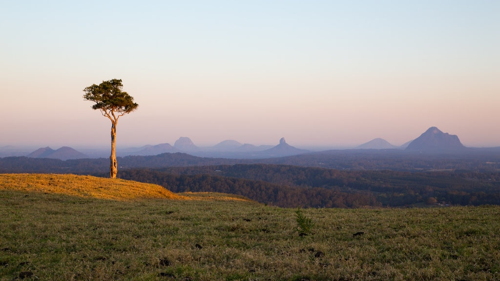 Maleny showing landscape views, a sunset and tranquil scenes