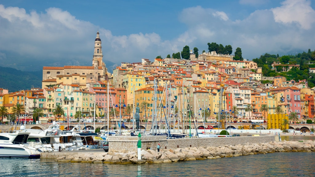 Menton showing a bay or harbor and a coastal town