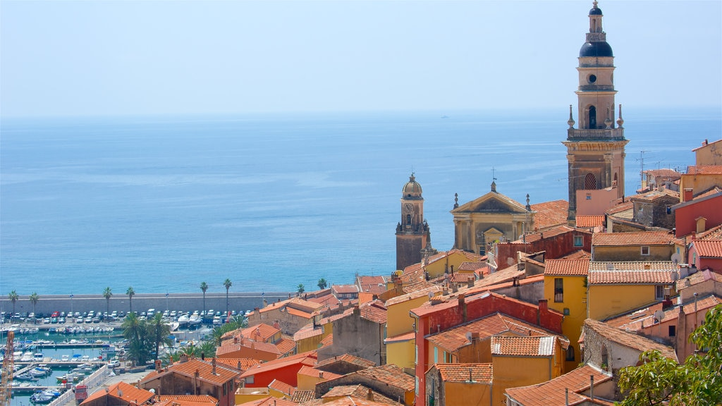 Menton featuring general coastal views, a coastal town and heritage elements