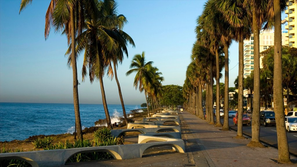 Dominican Republic which includes a coastal town, rugged coastline and street scenes