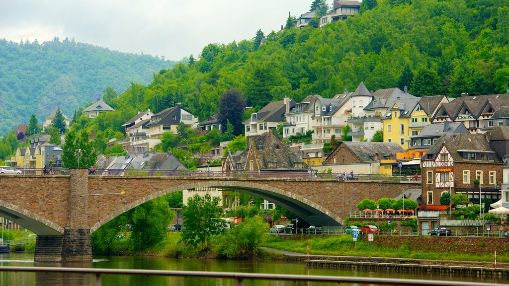 Cochem showing a small town or village, a river or creek and a bridge