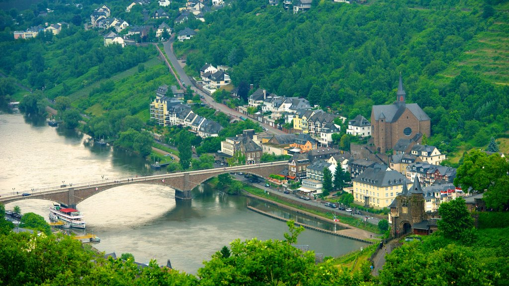 Cochem showing a river or creek, a bridge and a small town or village