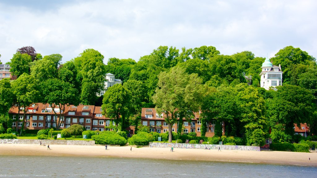 Hamburg featuring a coastal town, a bay or harbor and a beach