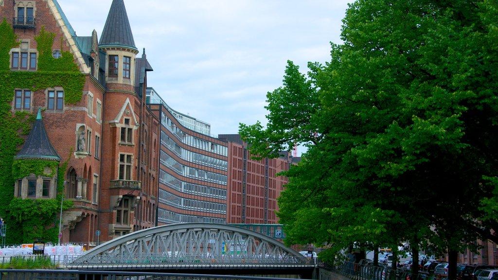 Speicherstadt showing a bridge and a city