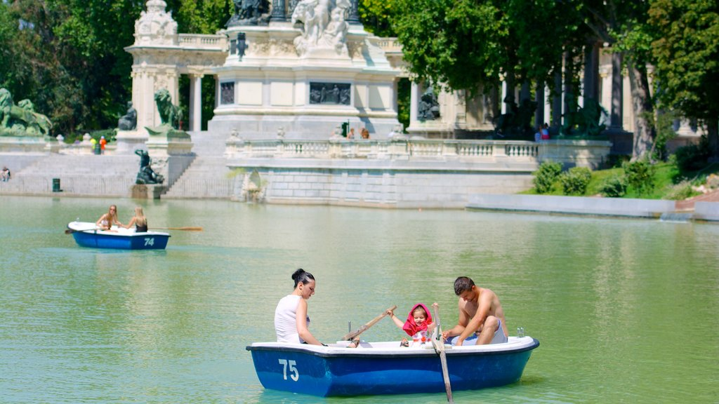El Retiro Park which includes a pond and kayaking or canoeing as well as a family