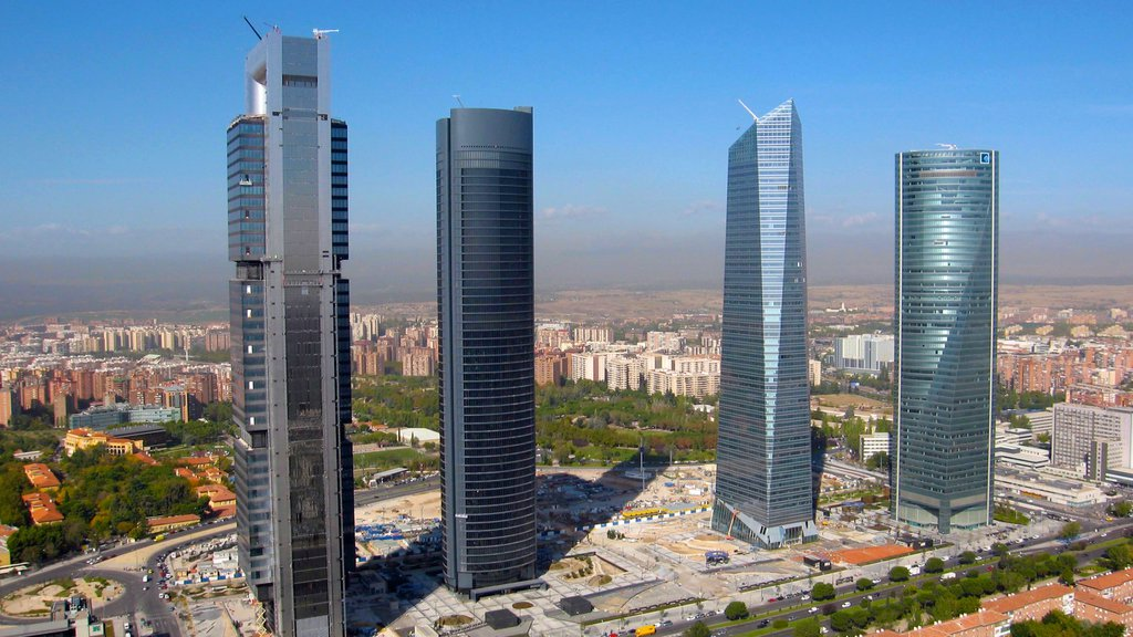 Madrid showing a city, modern architecture and a skyscraper