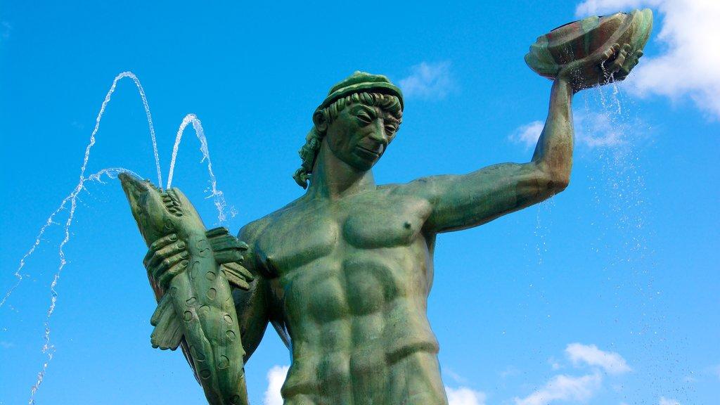 Estatua de Poseidón ofreciendo una fuente y una estatua o escultura