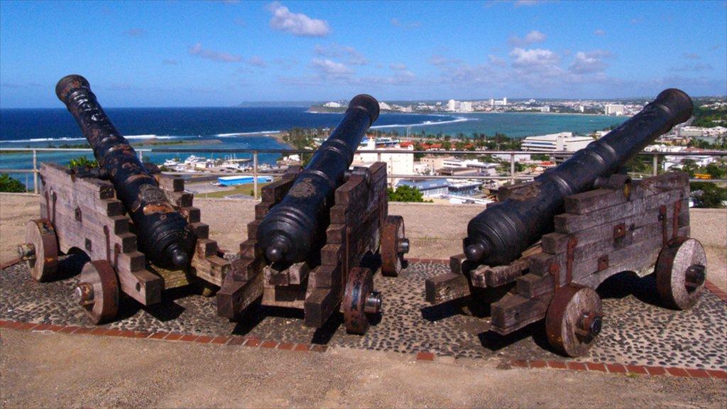 Hagatna featuring military items, a coastal town and views