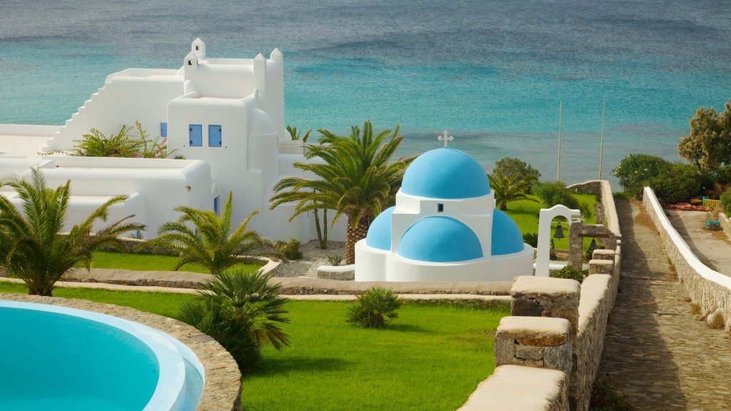 Mykonos showing modern architecture, general coastal views and a church or cathedral