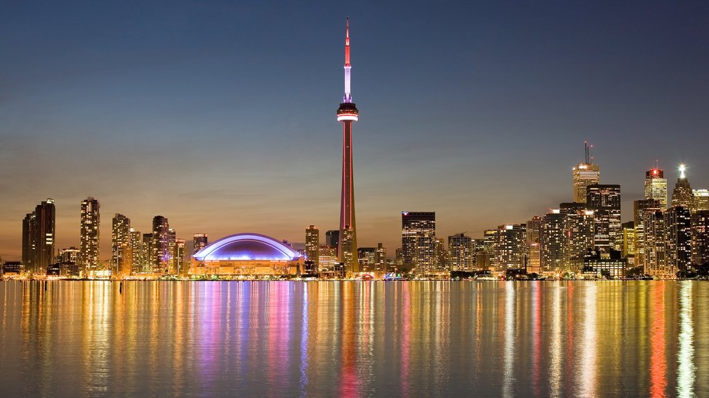 CN Tower showing skyline, a city and modern architecture