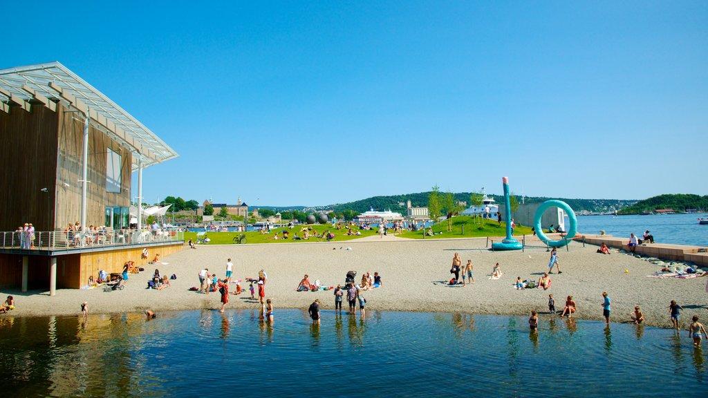 Oslo showing a garden, a coastal town and a beach