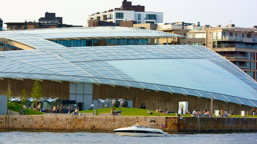 Tjuvholmen which includes a bay or harbor, modern architecture and boating